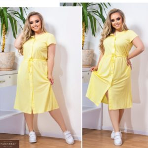Купить желтое женское летнее платье из льна (размер 48-58) по скидке