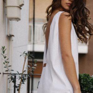 Заказать по скидке белый сарафан с открытой спиной для женщин