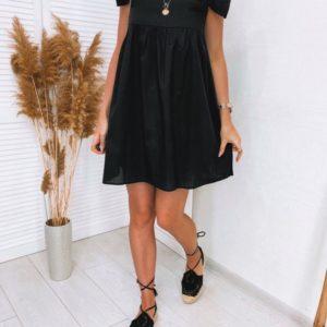 Заказать черный женский летний сарафан с рукавами-крылышками (размер 42-48) выгодно