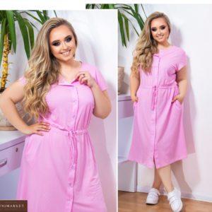 Приобрести женское летнее платье из льна (размер 48-58) малина дешево