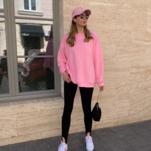 Заказать розовый женский однотонный яркий свитшот недорого
