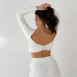 Приобрести по низким ценам белый спорт топ с длинным рукавом для женщин