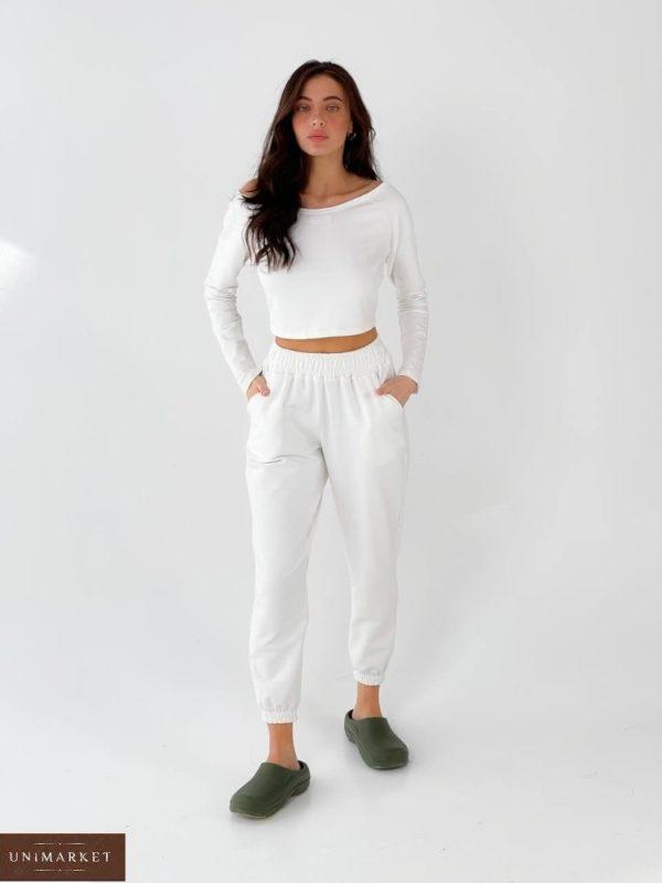 Заказать онлайн белый спорт топ с длинным рукавом для женщин