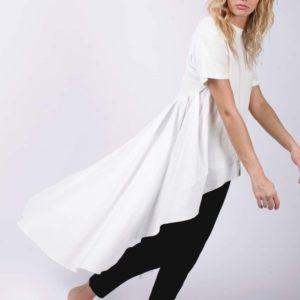 Купить белую женскую футболку-тунику с длинным хвостом в интернете