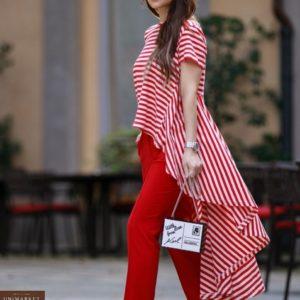 Купить выгодно красную для женщин футболку-тунику с длинным хвостом в Украине