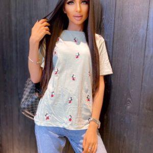 Купить белую женскую футболку с маленькими Микки онлайн