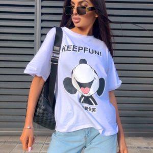 Заказать женскую белую футболку Keepfun с Микки Маусом дешево