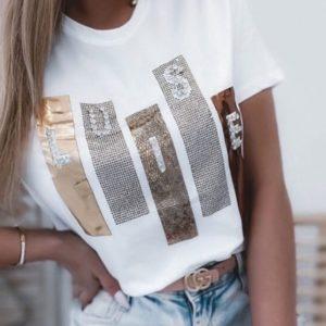 Купить женскую белую футболку с блестящим принтом онлайн