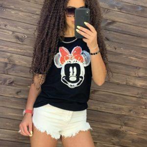 Заказать недорого черного цвета футболку minimоusе для женщин