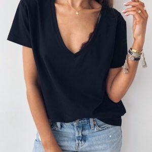 Купить в интернете черную двустороннюю футболку оверсайз с вырезом для женщин