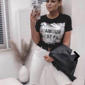 Заказать черную женскую футболку Lamour в интернете
