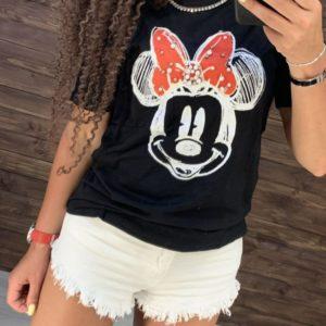 Купить черную женскую футболку minimоusе онлайн
