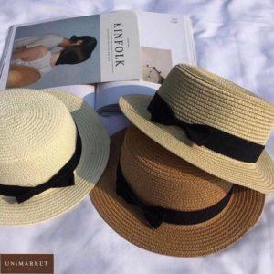 Купить бежевую женскую шляпу канотье с бантом по скидке