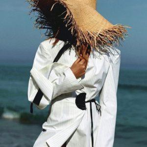 Заказать бежевую женскую соломенную плетёную шляпу онлайн