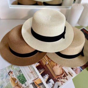 Приобрести бежевую женскую шляпу канотье с бантом в Украине на лето