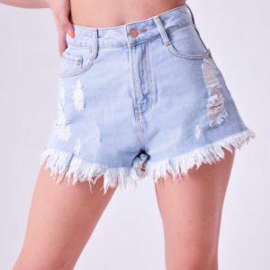 Заказать по скидке голубые джинсовые шорты для женщин с необработанным краем