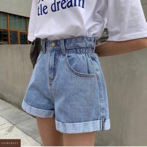 Купить голубые женские шорты из джинса с резинкой по скидке