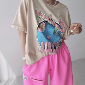 Приобрести дешево розовые женские шорты оверсайз из двухнити
