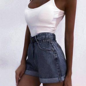 Заказать недорого женские шорты из джинса с резинкой серого цвета