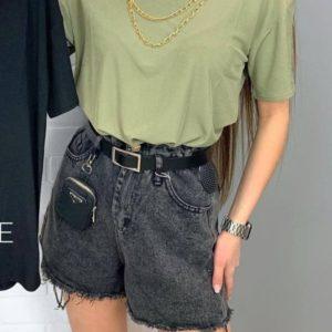 Приобрести серые женские джинсовые шорты с кошельком (размер 42-48) в интернете