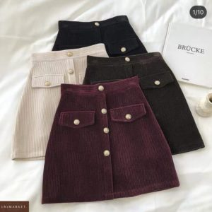 Заказать онлайн женскую вельветовую юбку с пуговицами бордо, беж, черную, шоколад