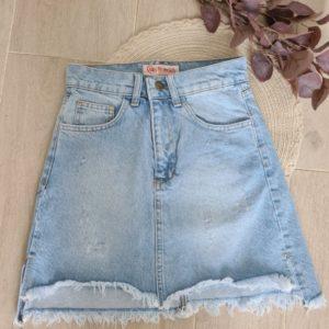 Заказать женскую голубую джинсовую юбку мини с необработанным краем в интернете