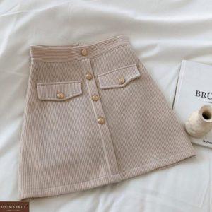Купить беж женскую вельветовую юбку с пуговицами по низким ценам