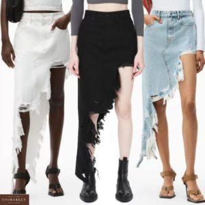 Заказать в интернете черную, белую, голубую асимметричную джинсовую юбку для женщин