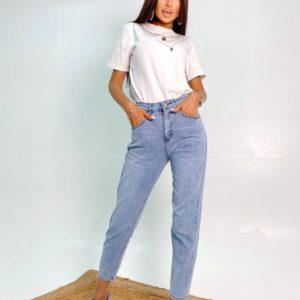 Купить по скидке голубые летние тонкие джинсы Мом для женщин