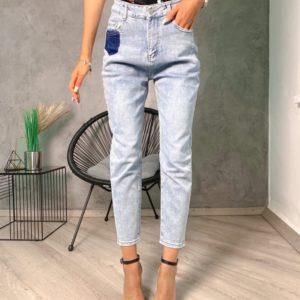 Купить голубые светлые тонкие джинсы Мом для женщин в Украине