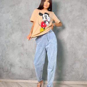 Приобрести по скидке голубые летние джинсы на резинке для женщин