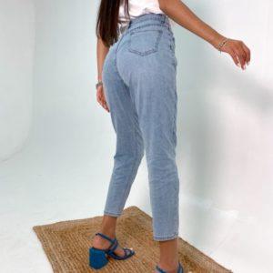 Заказать женские голубые летние тонкие джинсы Мом в интернете
