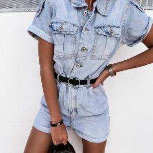Купить онлайн голубой джинсовый комбинезон с шортами (размер 42-48) для женщин