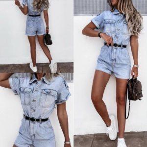 Заказать онлайн голубой джинсовый комбинезон с шортами (размер 42-48) для женщин