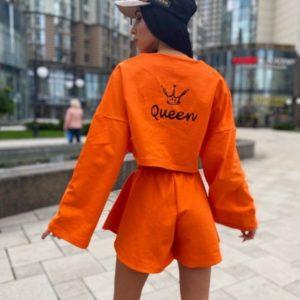 """Купить оранжевый женский костюм прогулочный """"queen"""" с шортами (размер 42-52) по скидке"""