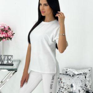Купить в Украине белый костюм с лосинами и футболкой (размер 42-48) для женщин