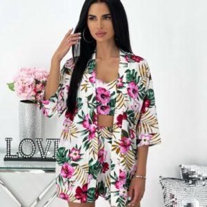 Заказать розовый костюм для женщин тройка с принтом (размер 42-48) онлайн
