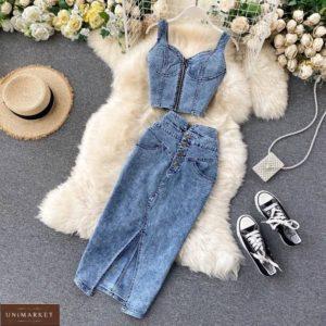 Купить синий женский джинсовый костюм: топ и юбка миди онлайн