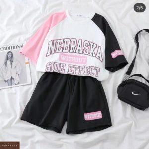 Заказать онлайн розвый летний костюм Nebraska с шортами для женщин