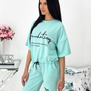 Приобрести мятный женский трикотажный костюм с футболкой (размер 42-48) онлайн