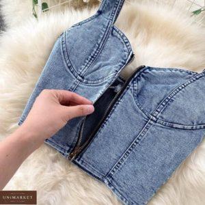 Заказать недорого синий джинсовый костюм: топ и юбка миди для женщин