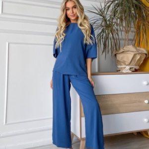 Купить цвет джинс женский летний костюм свободного кроя онлайн