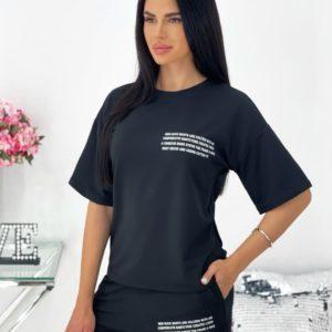 Купить по скидке женский летний костюм с шортами и футболкой (размер 42-48) черного цвета