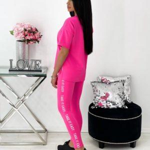 Купить женский костюм с лосинами и футболкой (размер 42-48) розовый онлайн