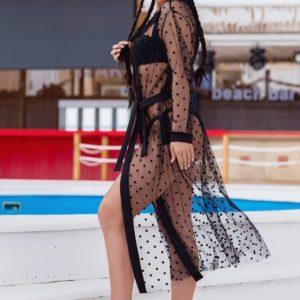 Купить недорого черную женскую пляжную накидку с воротником (размер 42-52)