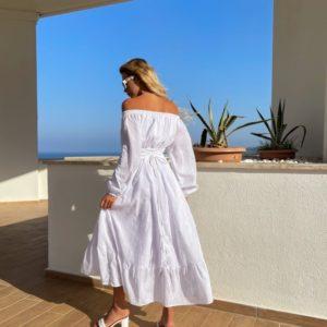 Купить белое платье с открытыми плечами из хлопка (размер 42-52) для женщин онлайн