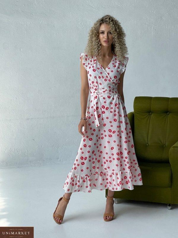 Купить белое женское летнее платье с поцелуями (размер 42-52) в интернете