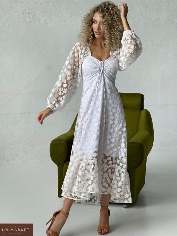 Заказать белое женское платье с сеткой в цветочный принт (размер 42-52) выгодно