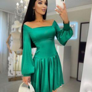 Купить в интернете зеленое шелковое платье с длинным рукавом и квадратным вырезом для женщин