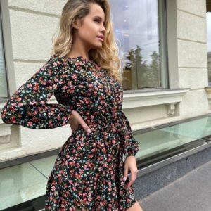 Приобрести по скидке черное цветочное платье с длинным рукавом для женщин